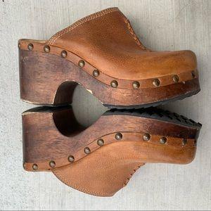 Vintage Shoes - Vintage chunky heel stud distressed leather mules